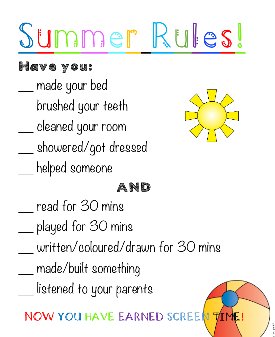 photo regarding Screen Time Rules Printable titled Summer season Recommendations for Electronics Totally free Printable Held your self a Location
