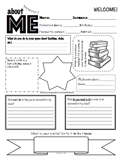 About ME - first day back free worksheet