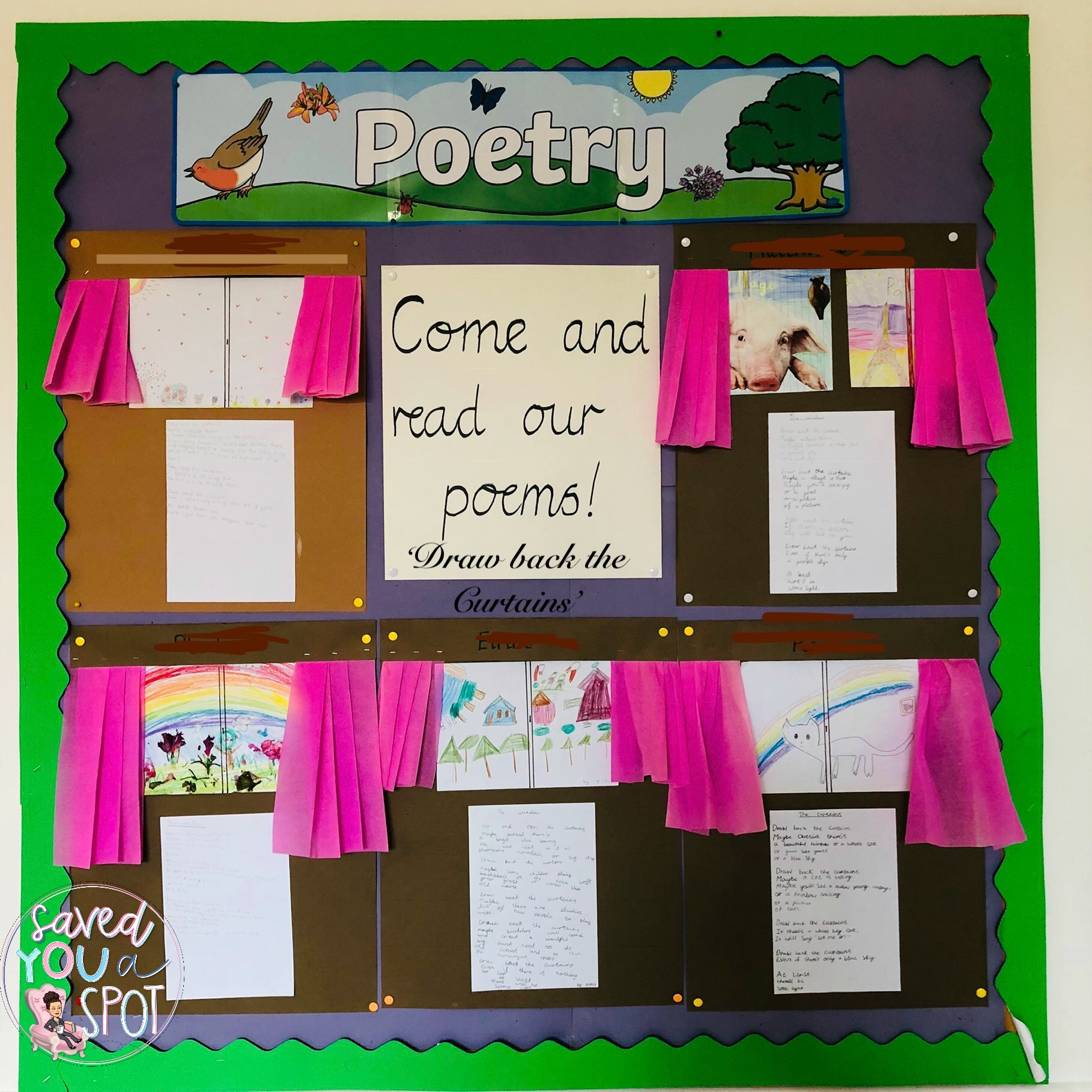 Poetry Display: Draw back the curtains – Saved you a Spot
